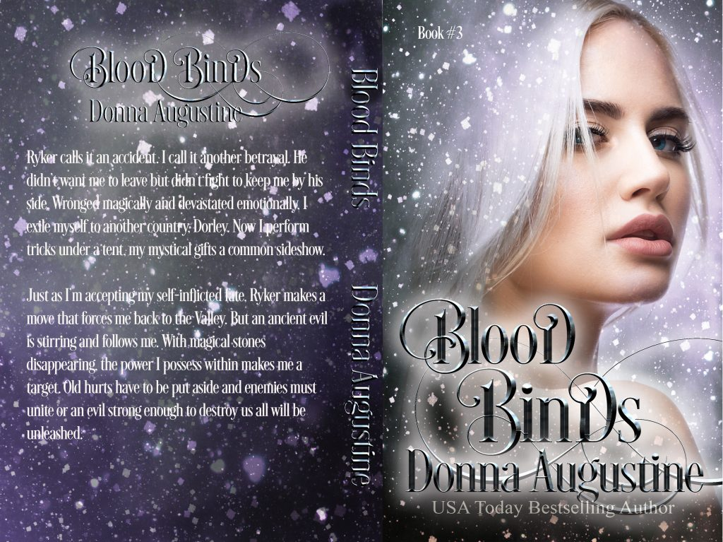 The cover of Blood Binds, Wyrd Blood book three. It shows a blonde woman looking out with sparkles around her head on a purple background.